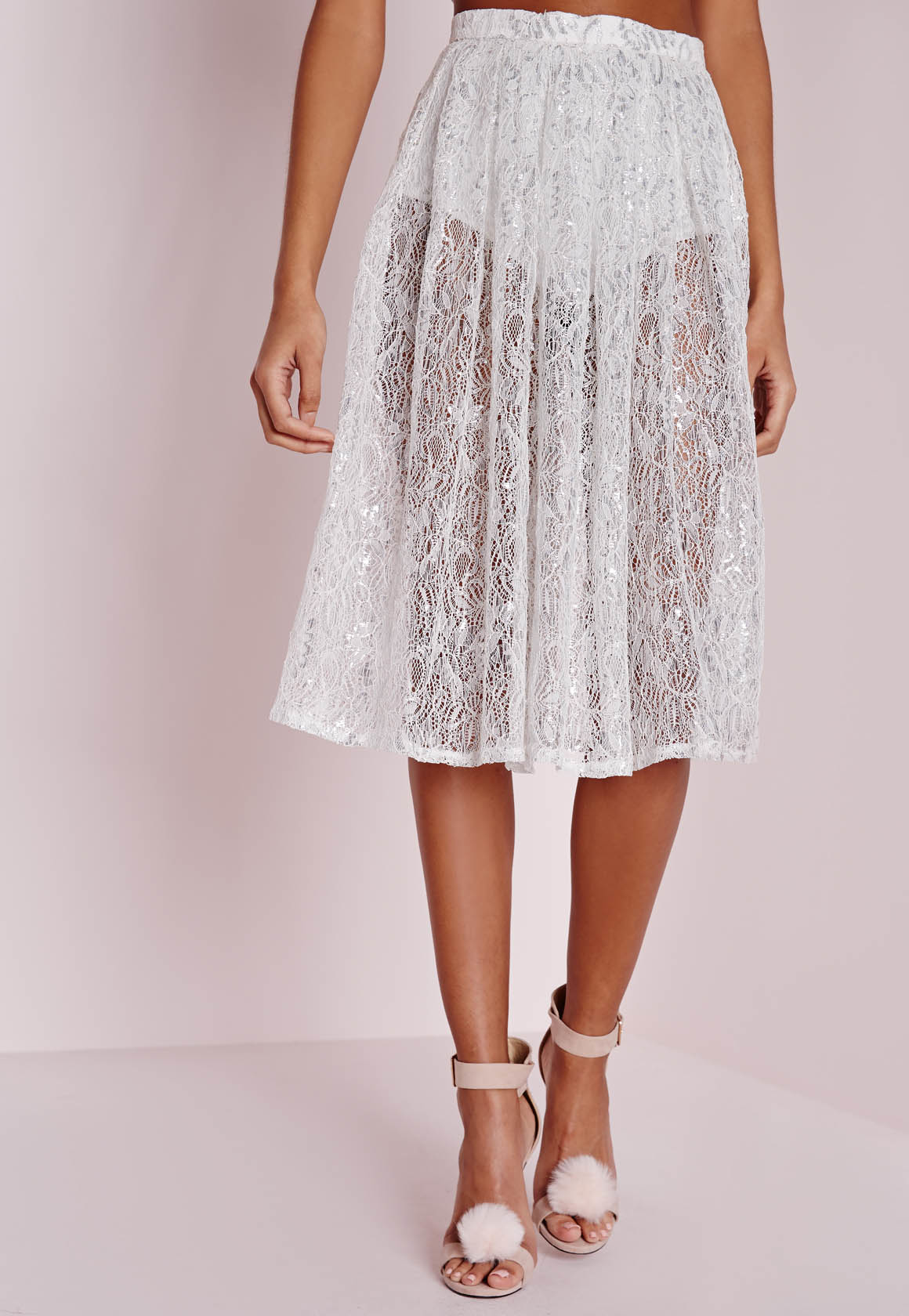 missguided lace detail midi skirt silver in metallic lyst