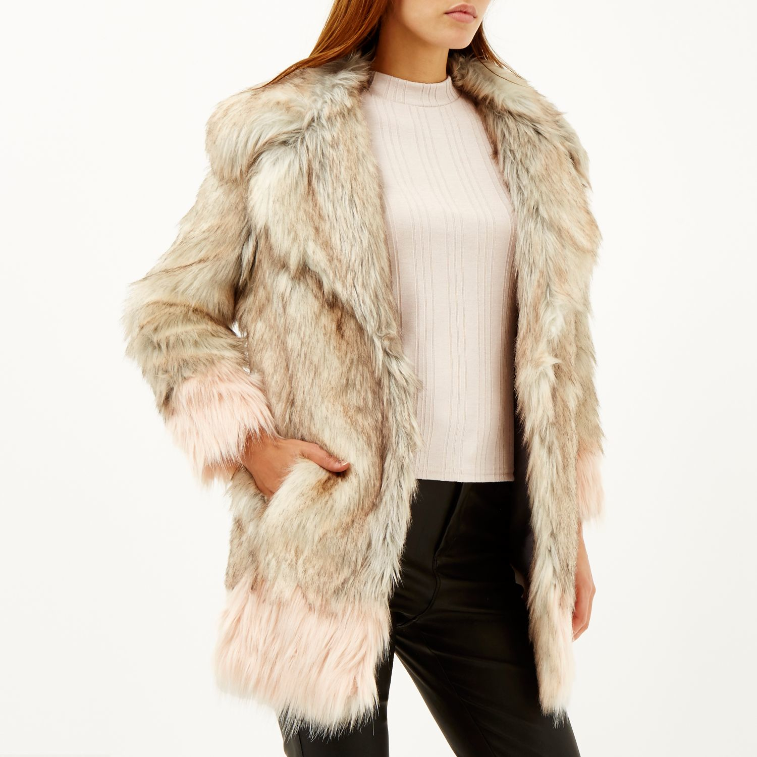 3fce0e8726df River Island Cream Faux Fur Collar Leather Look Jacket In Natural Lyst