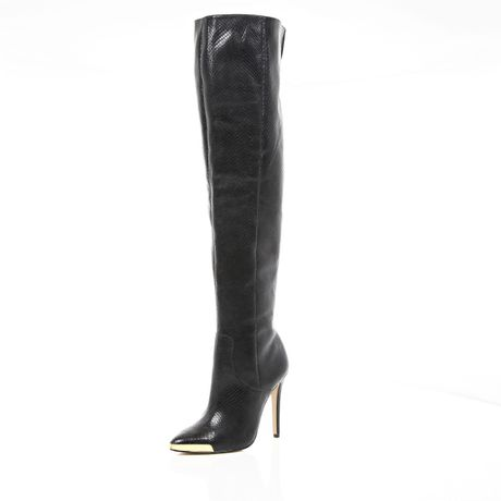 river island black snake pointed stiletto knee high boots