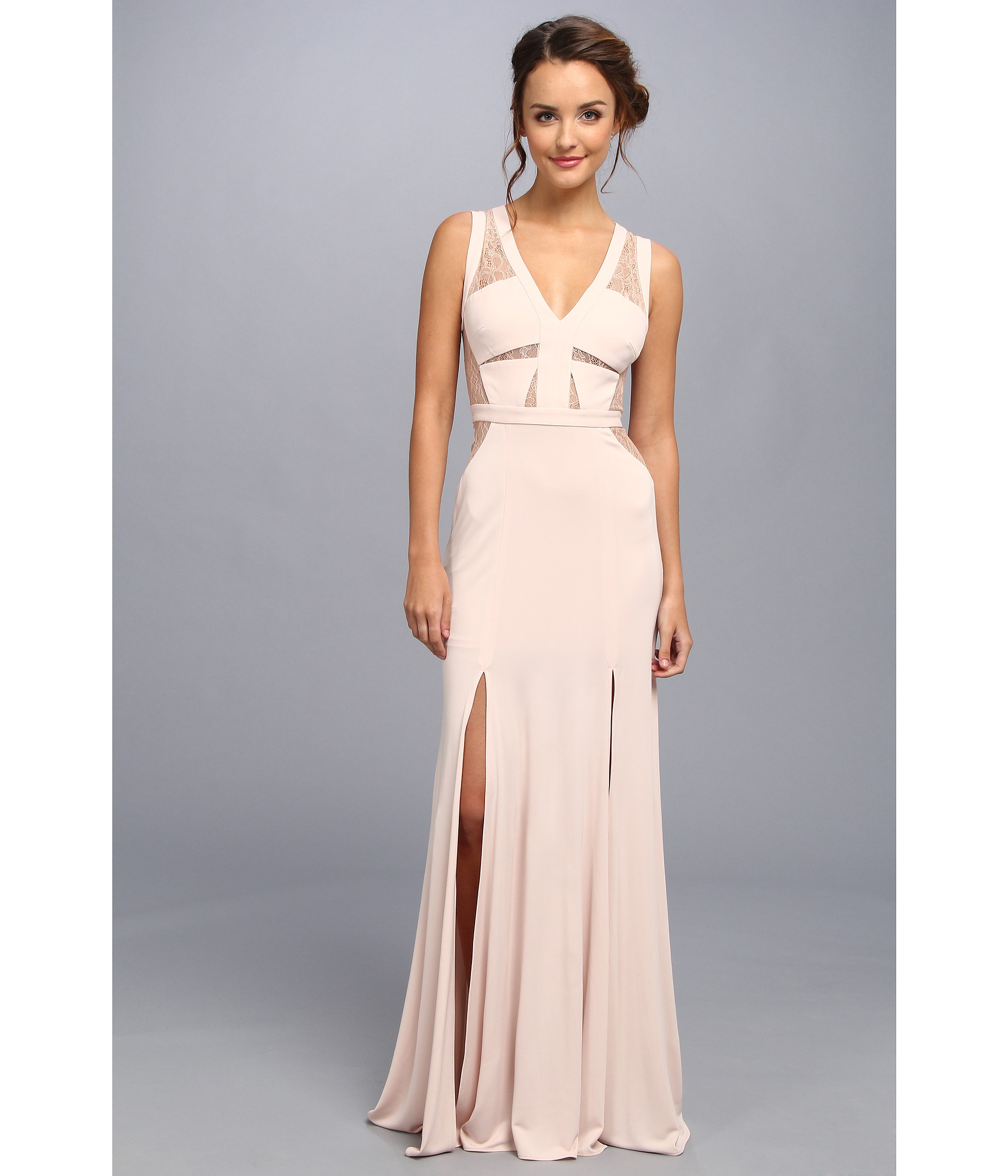 Lyst - Bcbgmaxazria Cristy Lace Sleeveless Gown in Pink