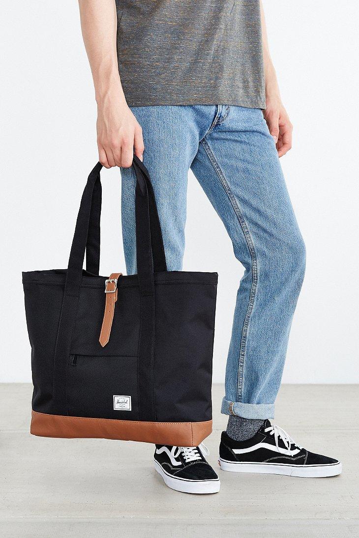 232038d5672b Lyst - Herschel Supply Co. Market Contrast Bottom Xl Tote Bag in Brown