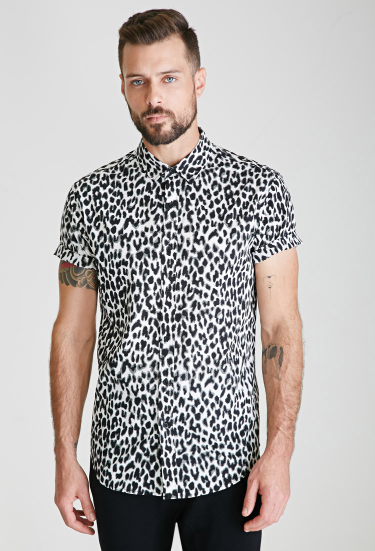 56821b171e93 Forever 21 Leopard Print Button-down Shirt for Men - Lyst