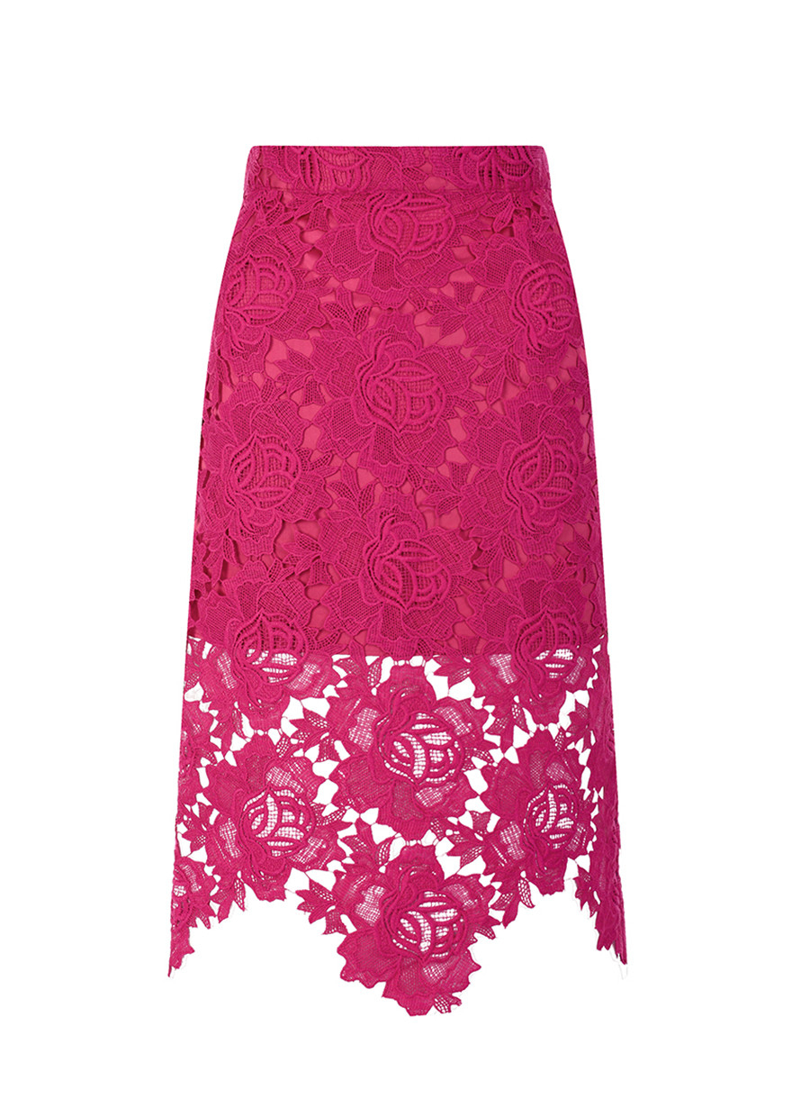 House Of Holland Pink Lace Pencil Skirt in Pink | Lyst