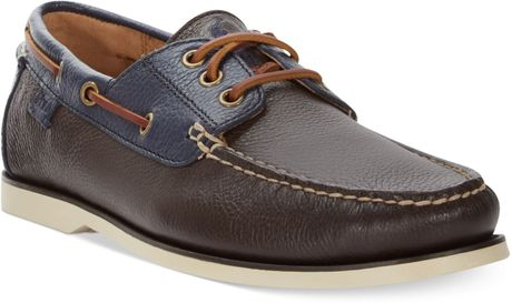 Polo Ralph Lauren Bienne Tumbled Leather Boat Shoes in Brown for Men