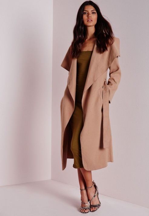 Missguided Waterfall Long Length Coat Camel in Natural | Lyst