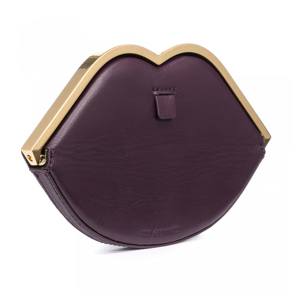 Lyst - Lulu Guinness Damson Smooth Leather Lip Frame Purse in Metallic