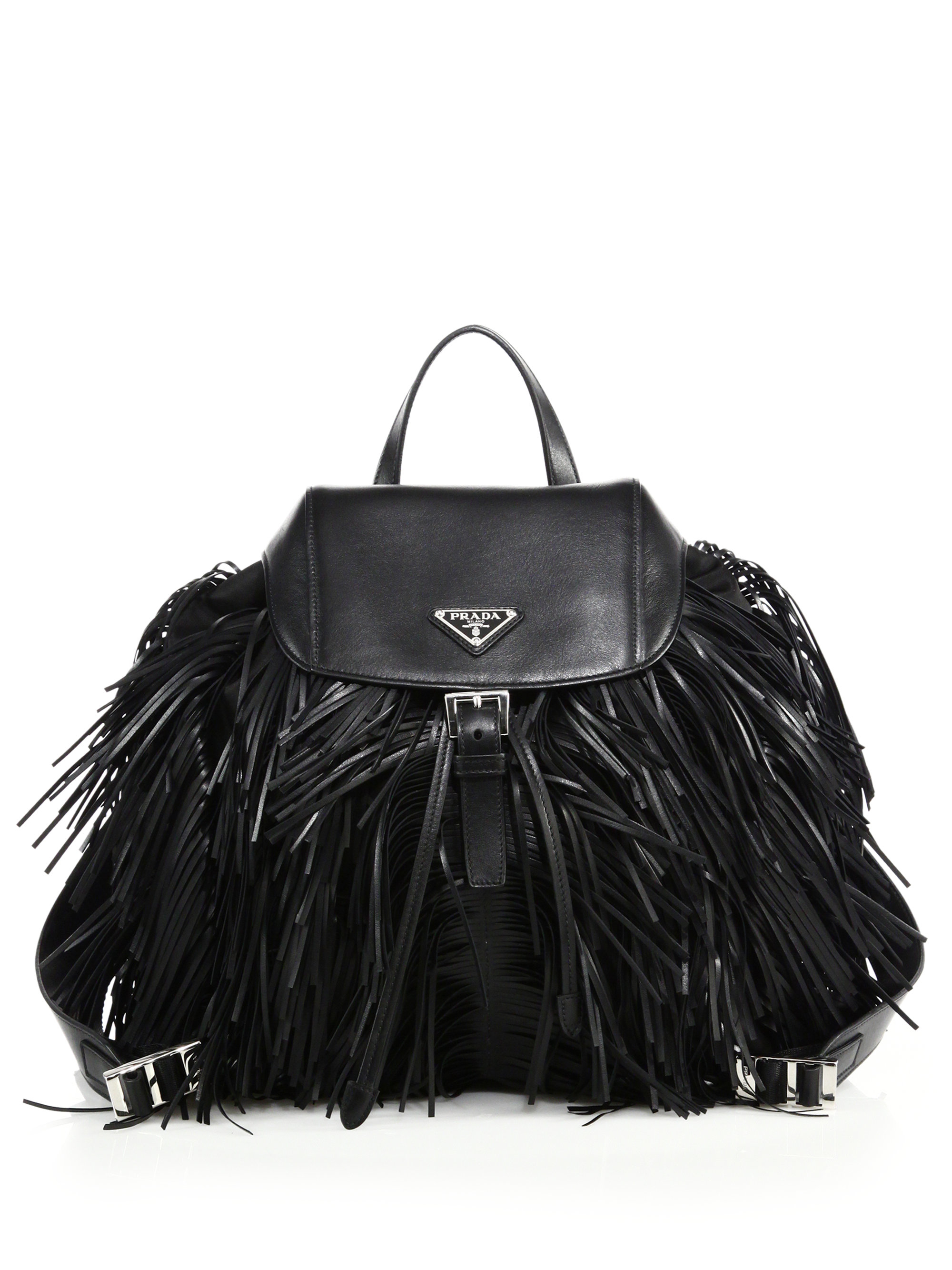 c0937071e67f Prada Fringed Nylon & Leather Backpack in Black - Lyst