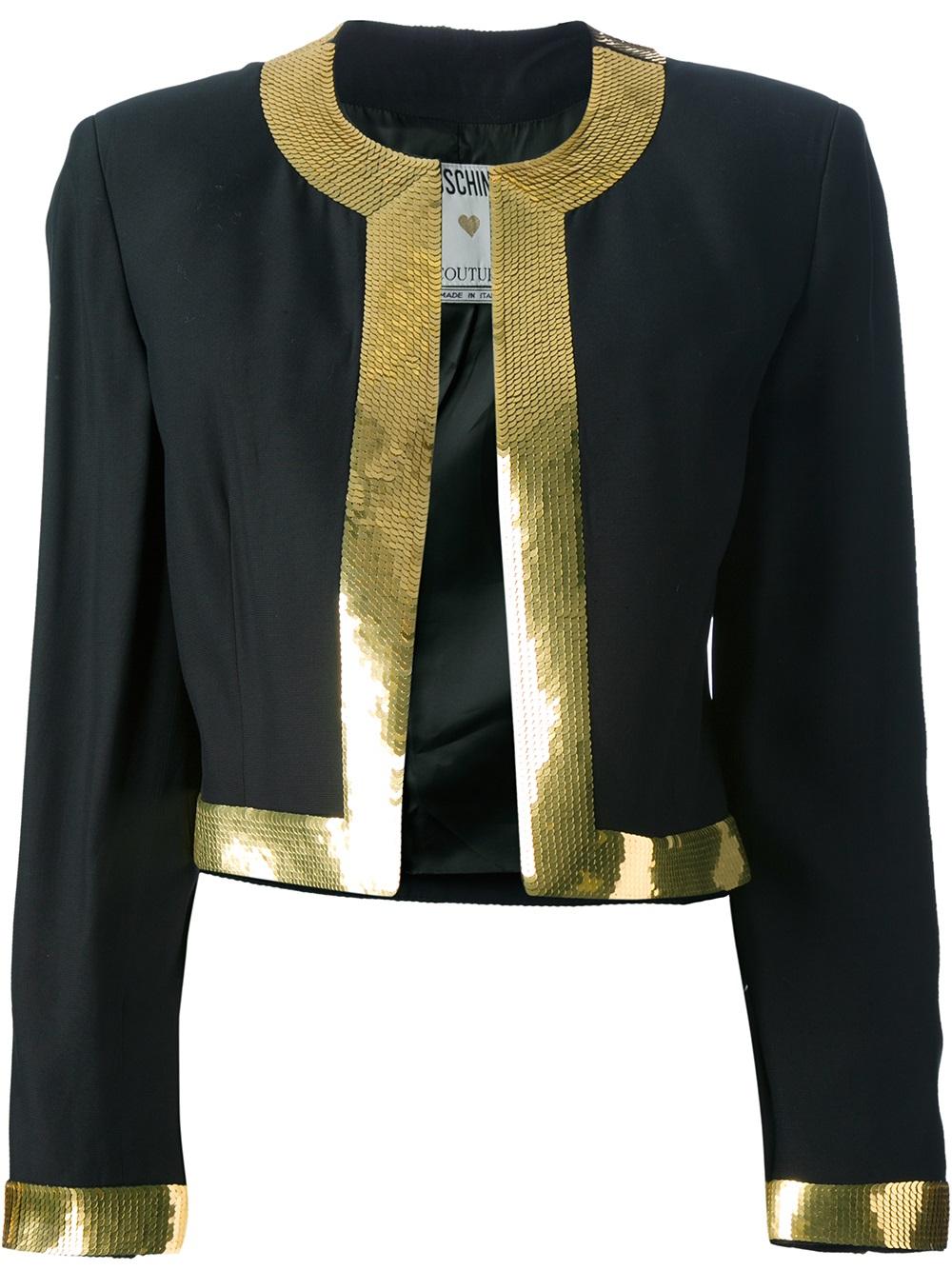 moschino cropped bolero jacket in black lyst. Black Bedroom Furniture Sets. Home Design Ideas