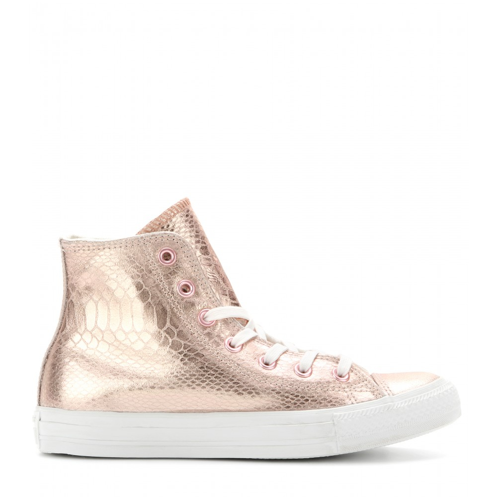 ca394bc35a914b Converse Chuck Taylor All Star Hi Glam Leather Hightops in Metallic - Lyst