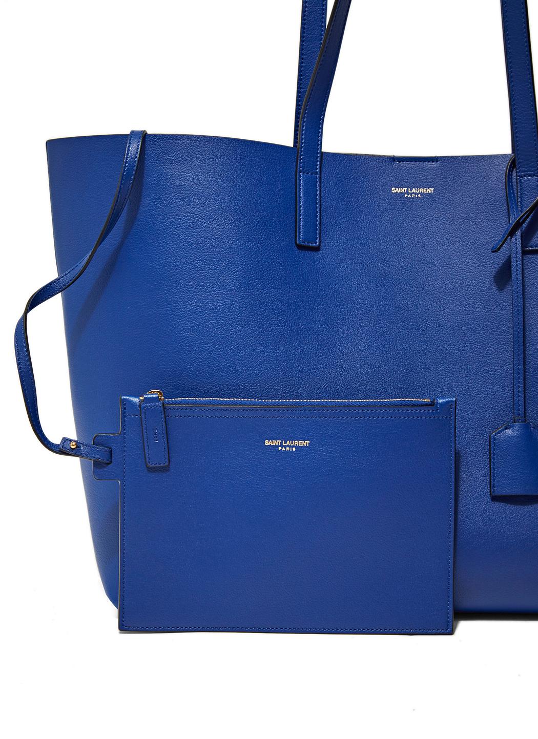 Saint laurent Leather Shopper Bag in Blue | Lyst