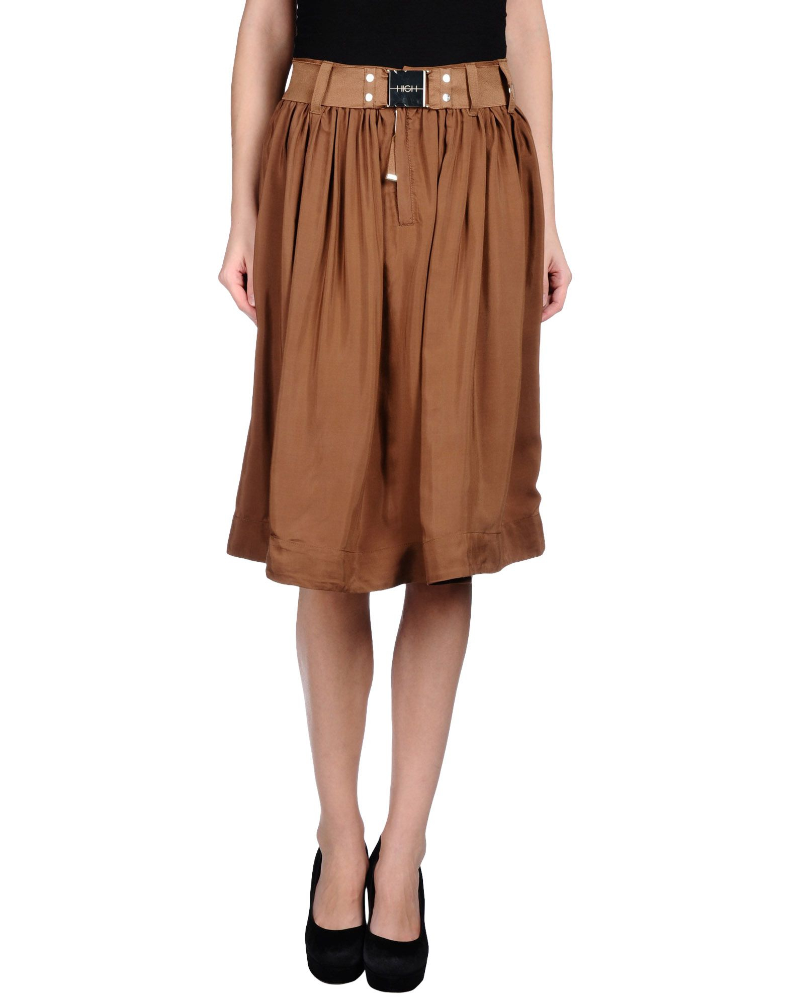 high knee length skirt in brown save 65 lyst