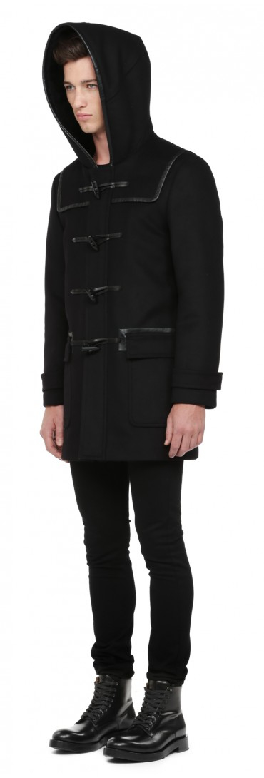 Mackage Finley Black Flat Wool Duffle Coat With Leather Trims in ...