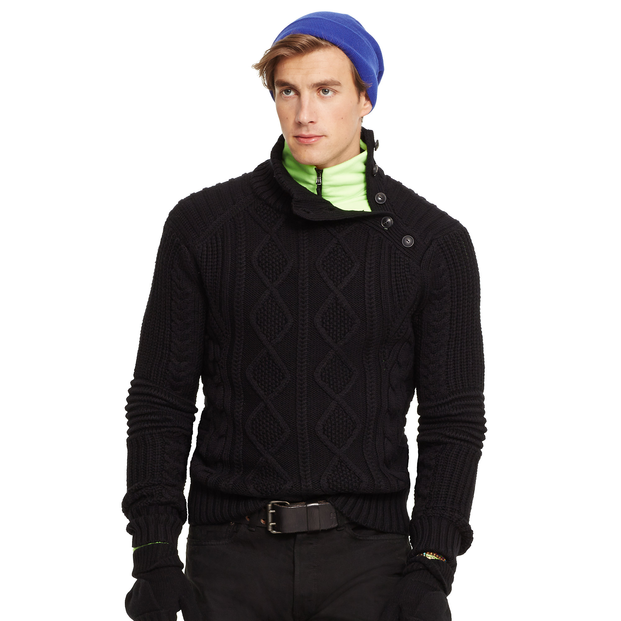 Polo ralph lauren Aran-Knit Merino Wool Sweater in Black ...