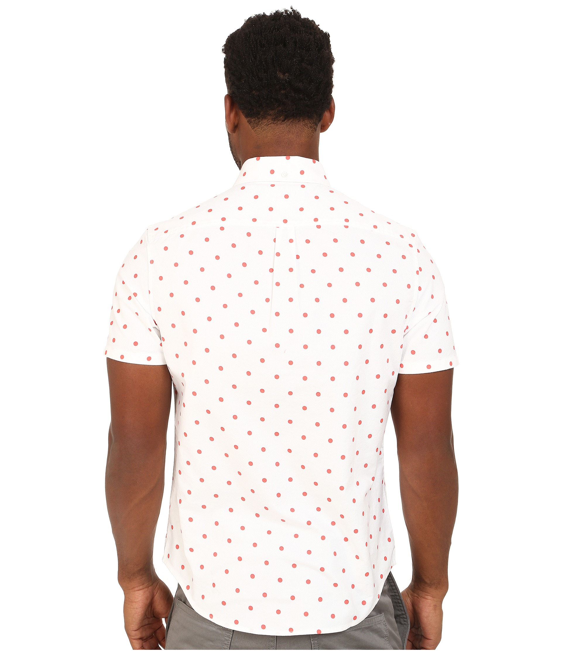Lyst original penguin global look polka dot oxford short for Mens polka dot shirt short sleeve