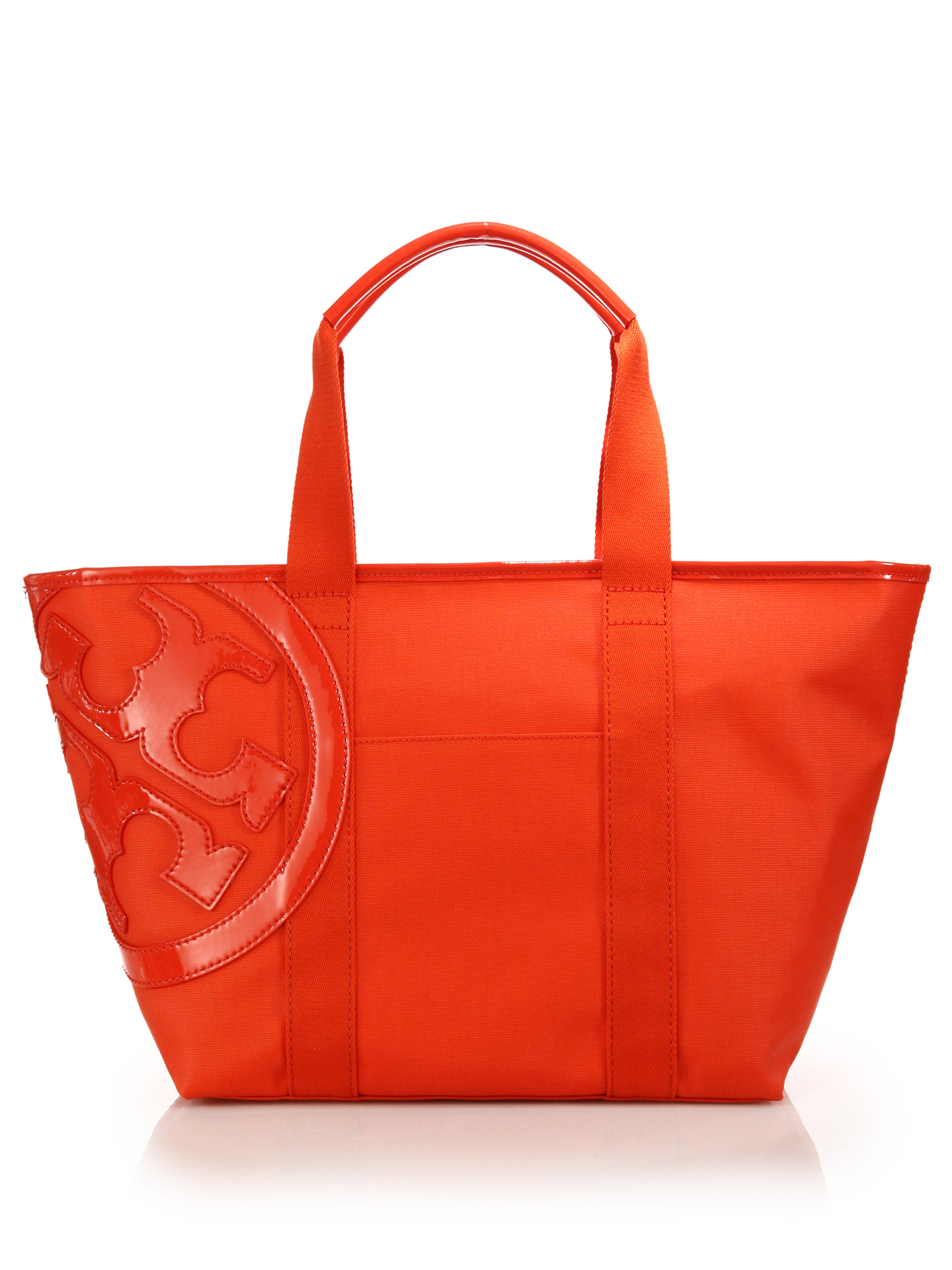 705af9bf365f Lyst - Tory Burch Small Beach Canvas Tote in Red