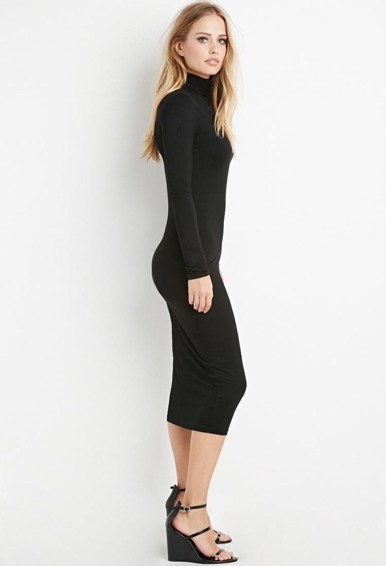 2675cbb3502c Lyst - Forever 21 Turtleneck Midi Dress in Black