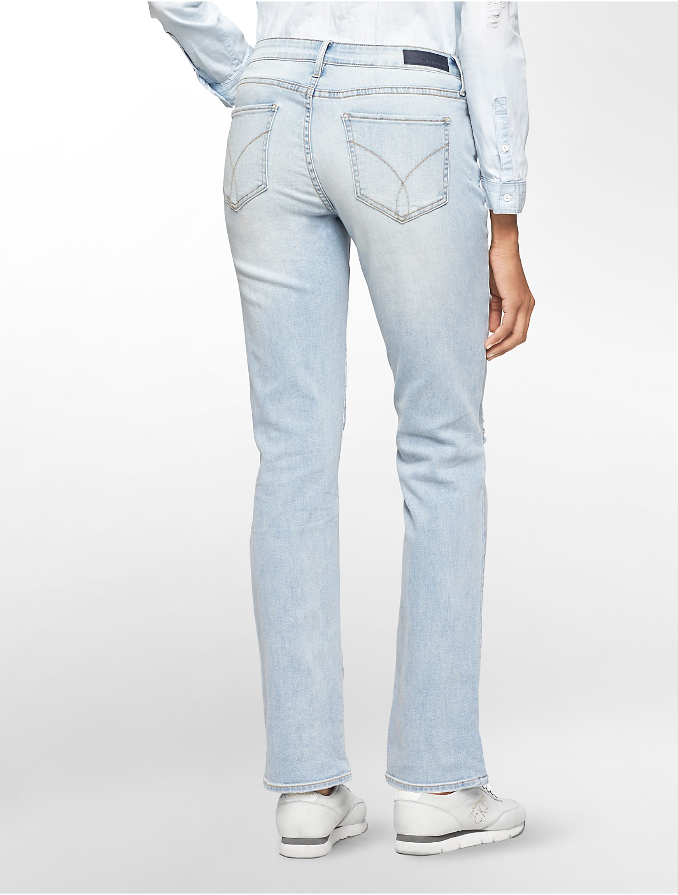 Calvin klein Jeans Straight Leg Destroyed Light Wash Jeans in Blue ...