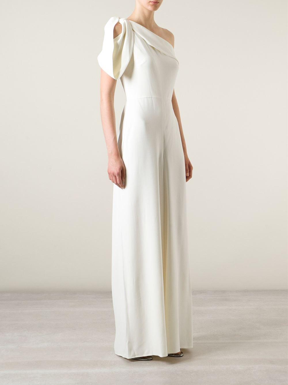 Lyst - Alexander Mcqueen One Shoulder Evening Gown in Natural