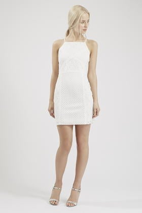 Lyst topshop floral lace bodycon dress in white gallery mightylinksfo