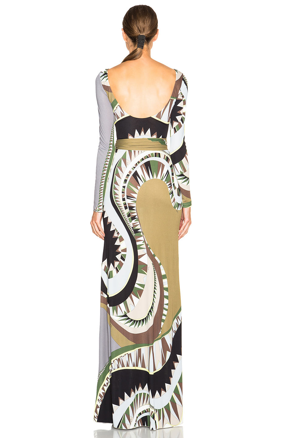 Lyst Emilio Pucci Printed Long Dress With Scarf In Black