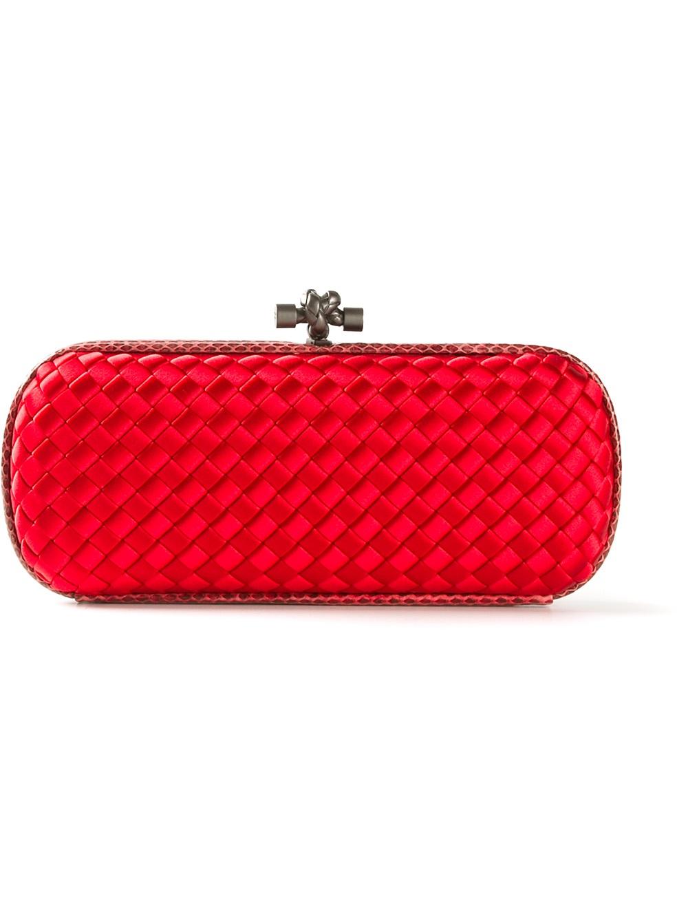 bottega veneta intrecciato clutch in red lyst. Black Bedroom Furniture Sets. Home Design Ideas