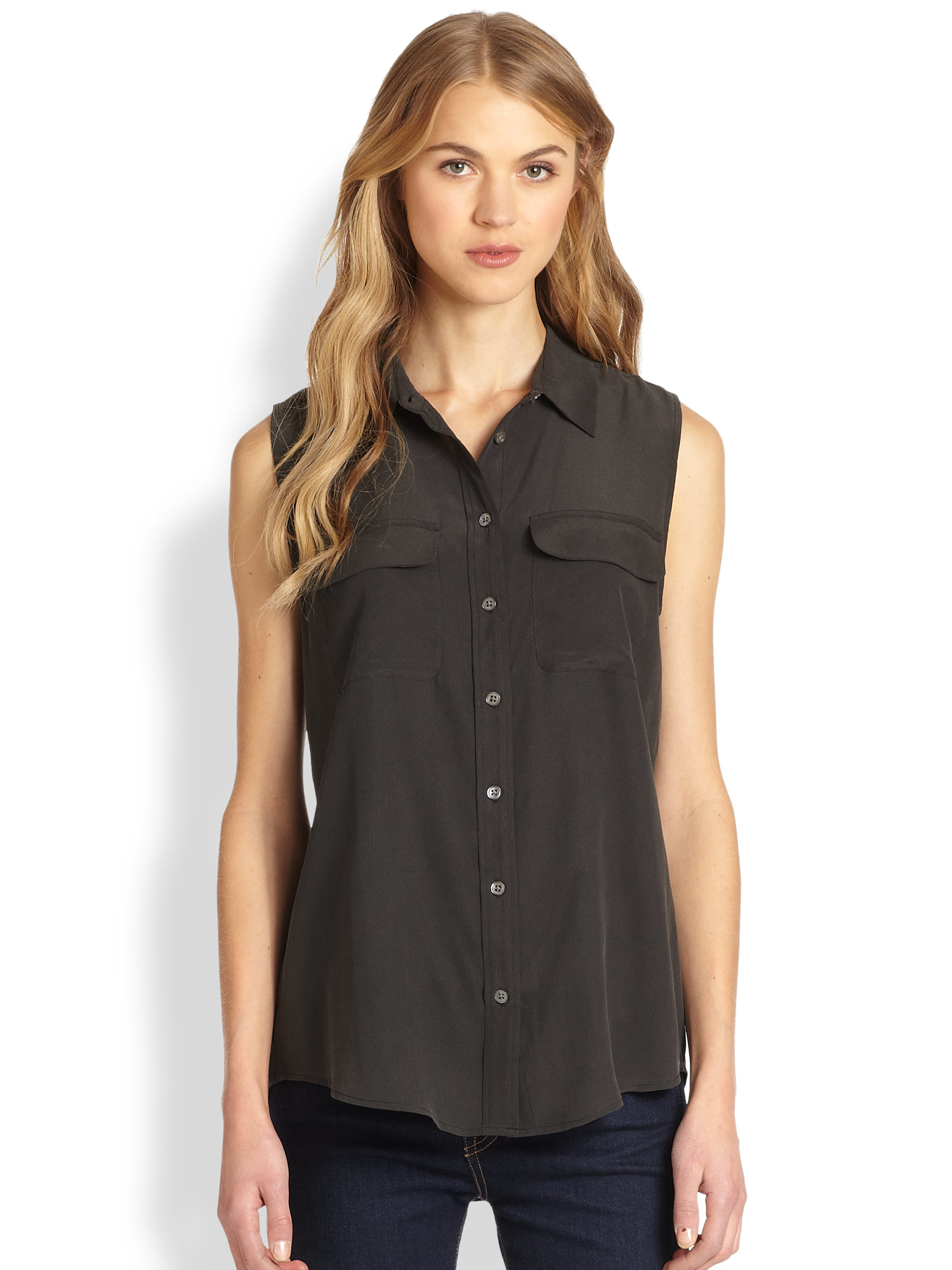 Equipment slim signature silk sleeveless shirt in black lyst for Equipment black silk shirt