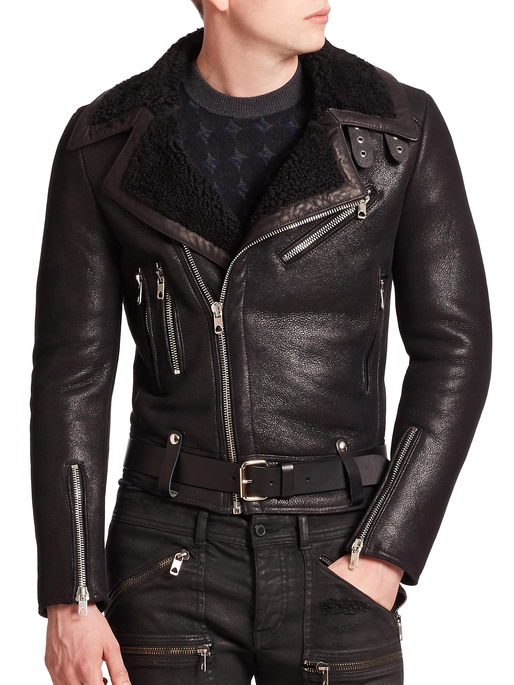 Diesel black gold Runway Shearling Biker Jacket in Black for Men ...
