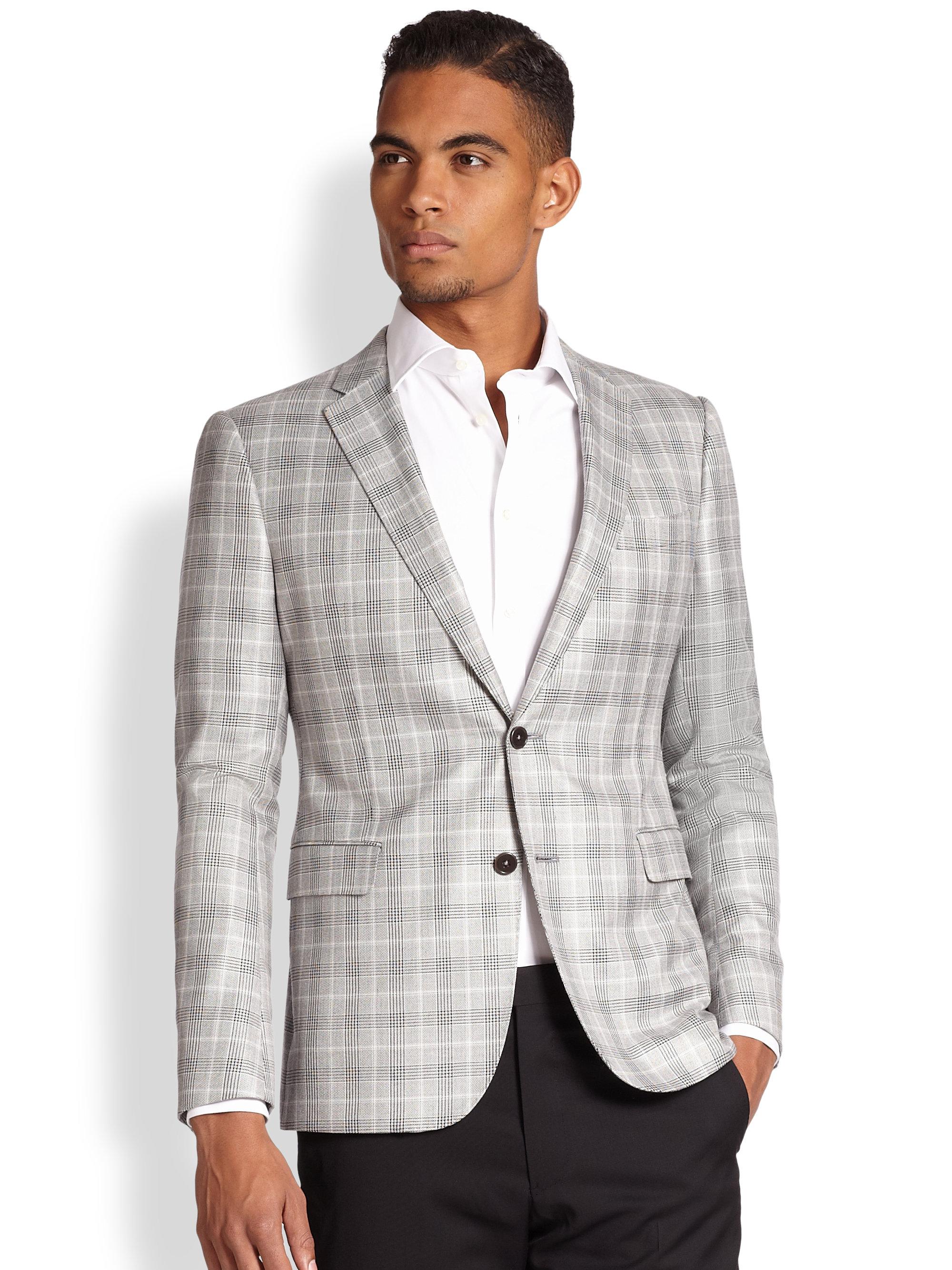 Armani Windowpane Sportcoat in White for Men | Lyst
