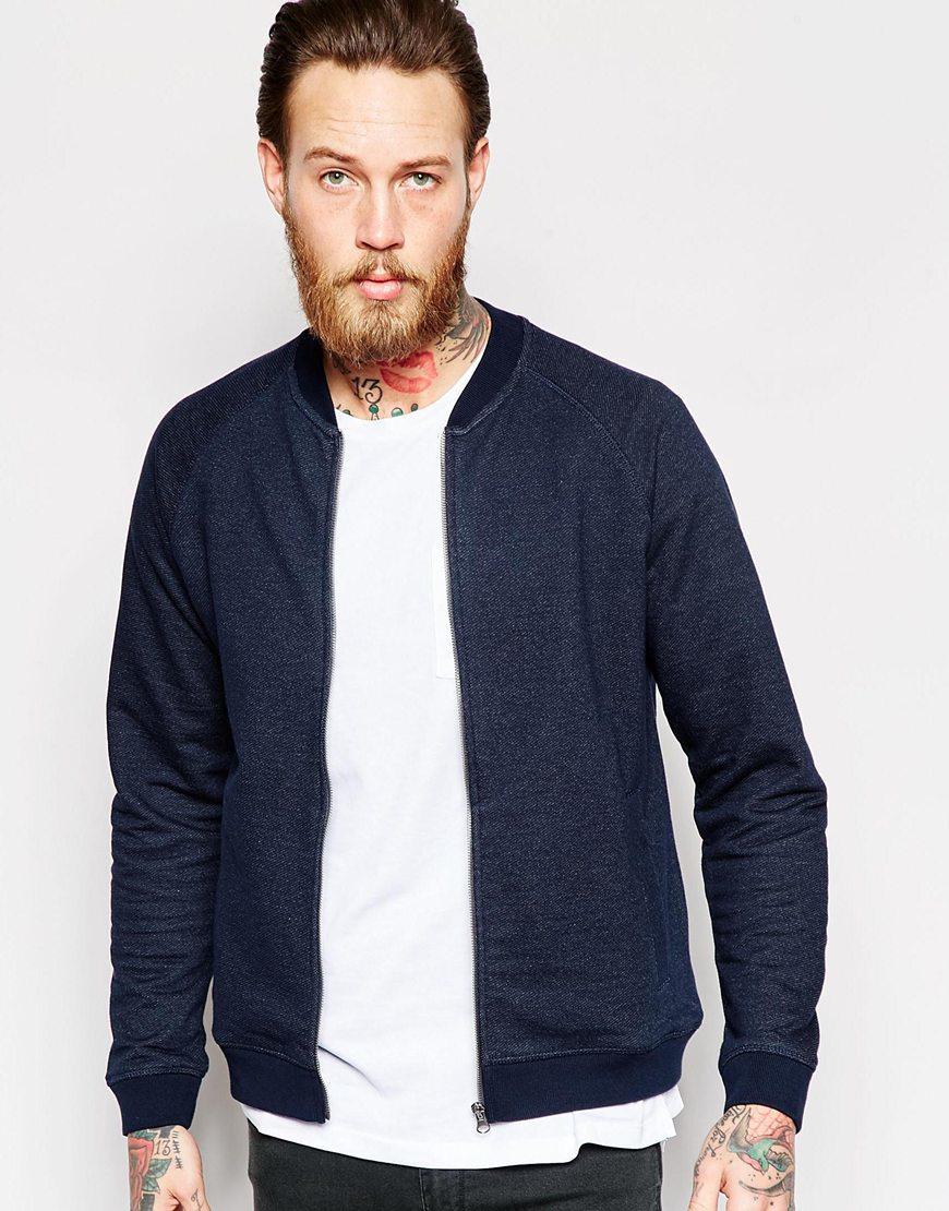 Lee jeans Sweat Bomber Jacket Diagonal Fce In Navy in Blue for Men ...