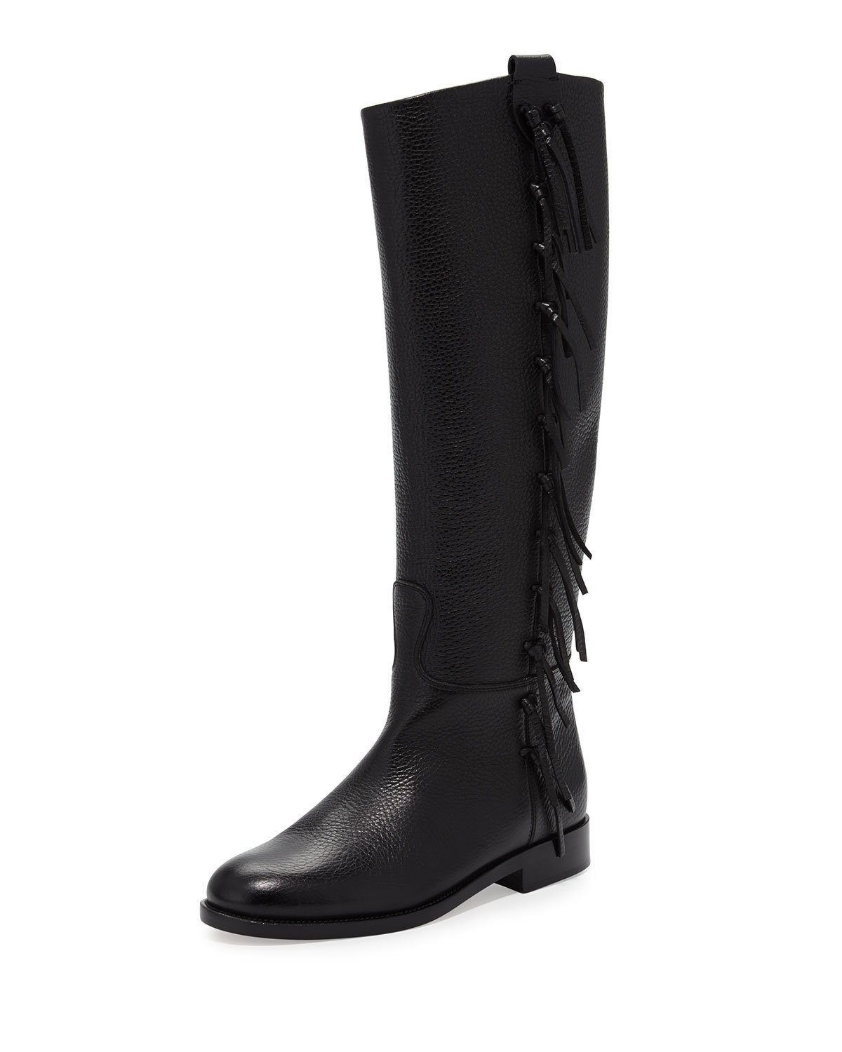 valentino side fringe flat knee boot in black lyst