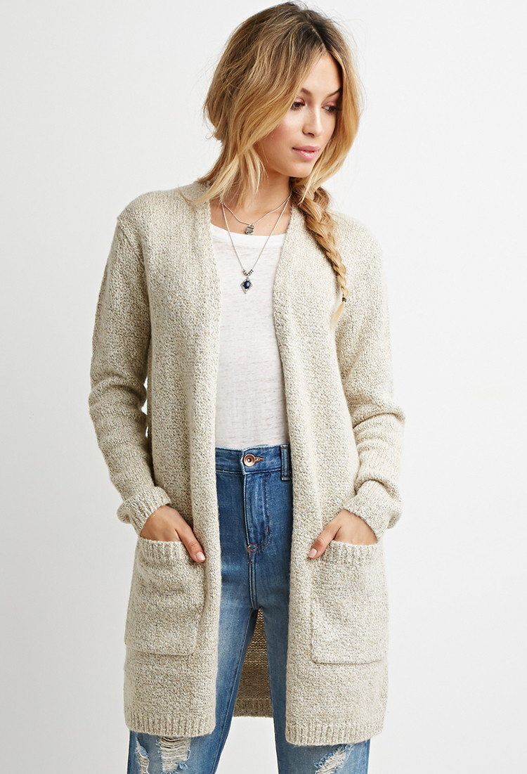 Forever 21 Oversized Chunky Knit Cardigan in Natural | Lyst