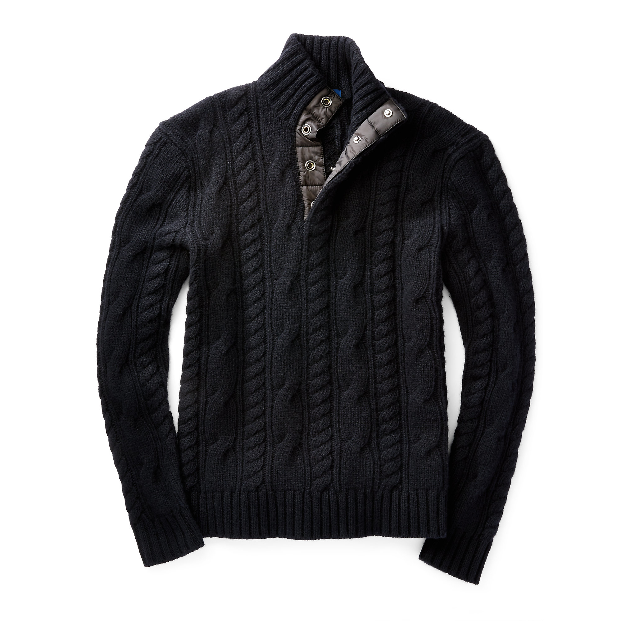 Polo ralph lauren Aran-knit Wool Sweater in Black for Men | Lyst