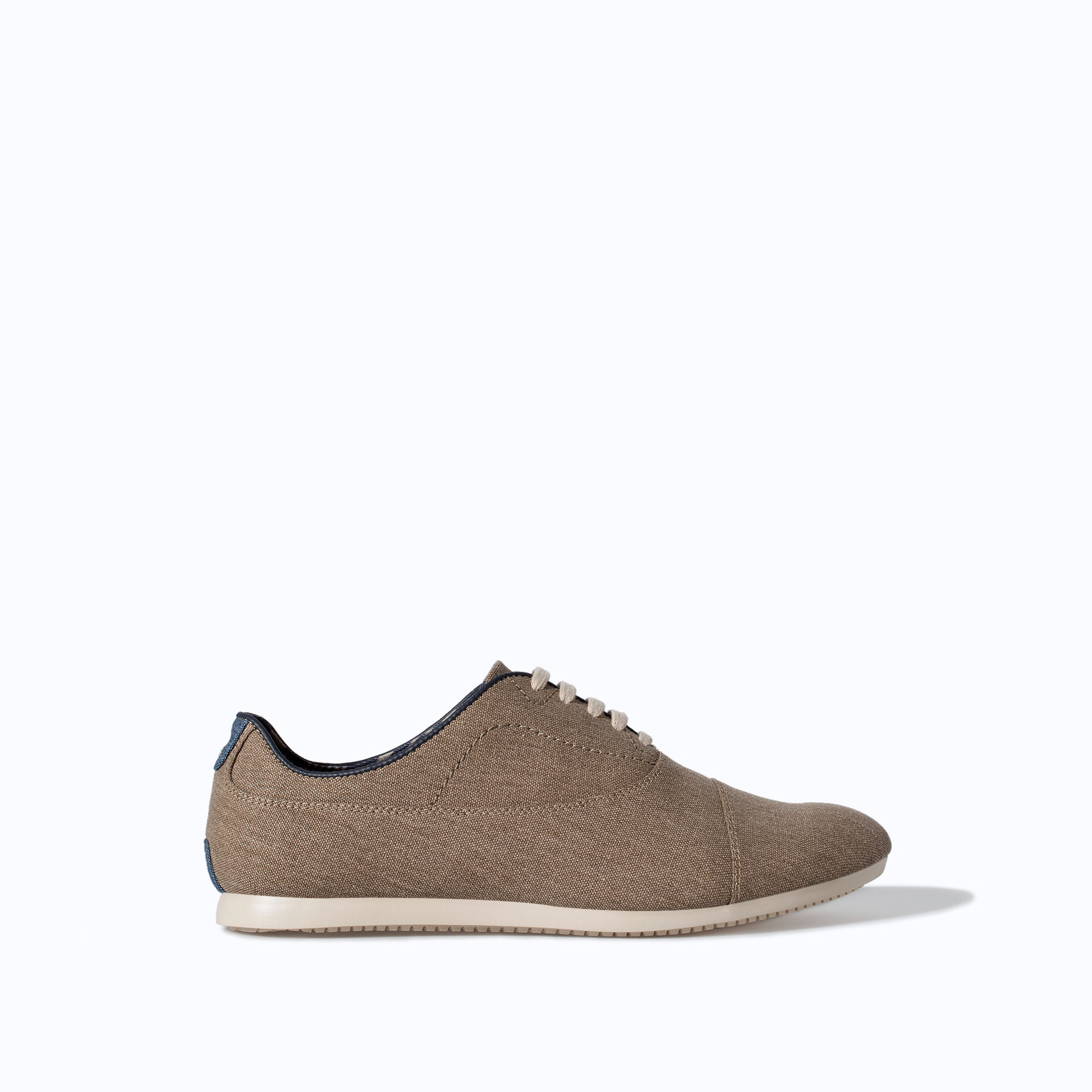 zara canvas oxford shoe in beige for sand lyst