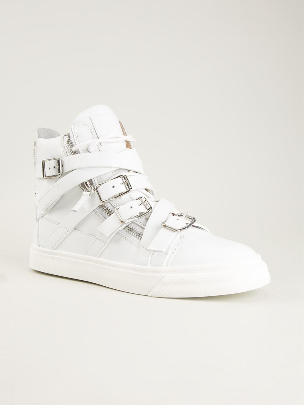giuseppe zanotti strappy hi top sneakers in white lyst
