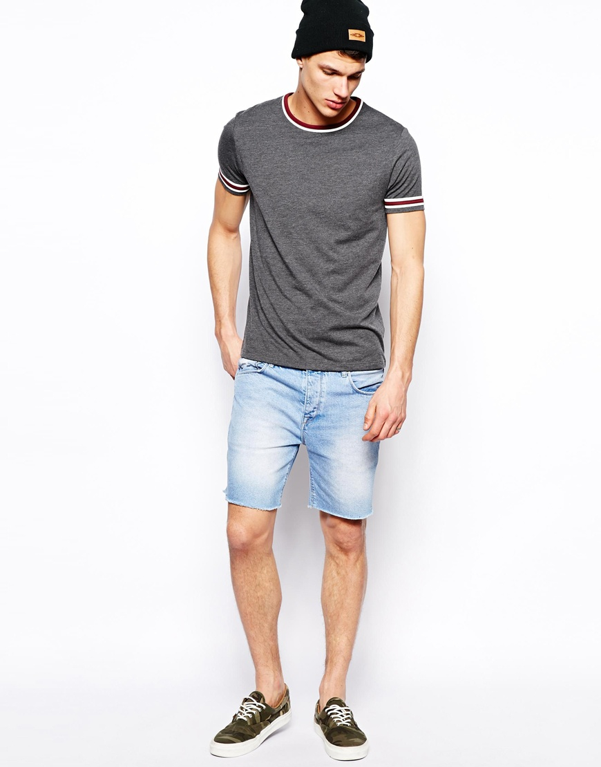 Asos Denim Shorts in Cut Off Short Length in Blue for Men | Lyst