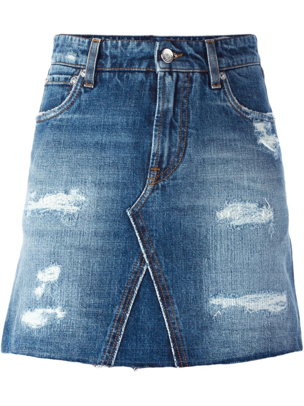 dolce gabbana ripped denim skirt in blue lyst