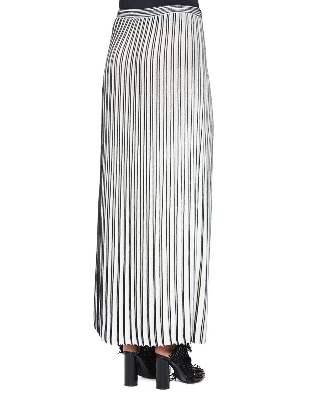 Proenza schouler Pleated Long Knit Skirt in Black | Lyst