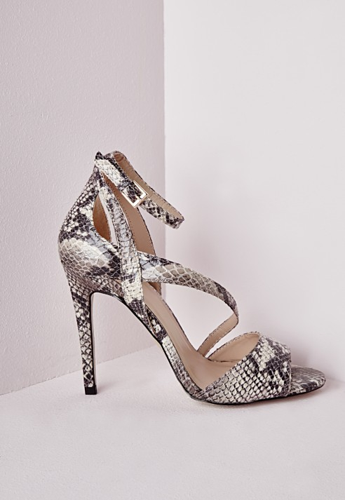 eb7b5eed9adf1a Missguided Strappy Asymmetric Heeled Sandals Snake Print - Lyst