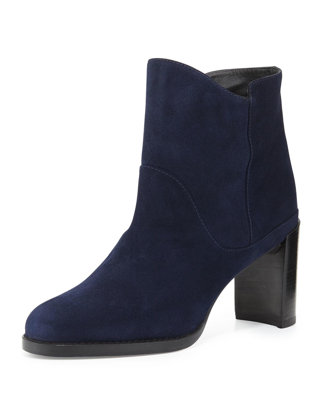 stuart weitzman mcclean suede ankle boot in blue lyst