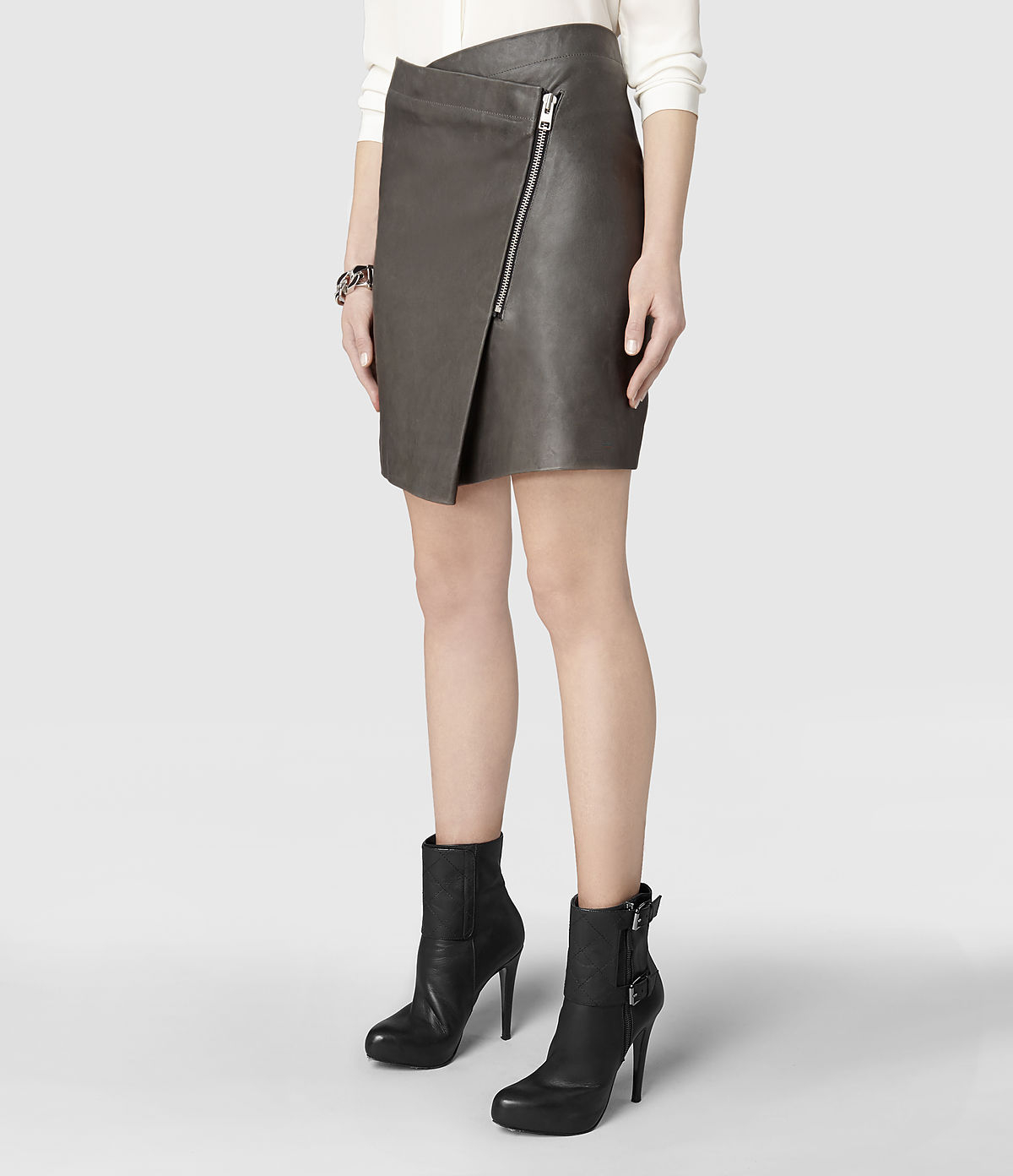 Allsaints Zip Ruther Leather Skirt in Gray | Lyst