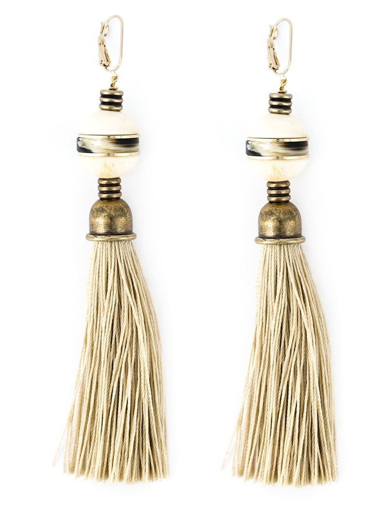 Lanvin Tassel Earrings in Metallics,Neutrals