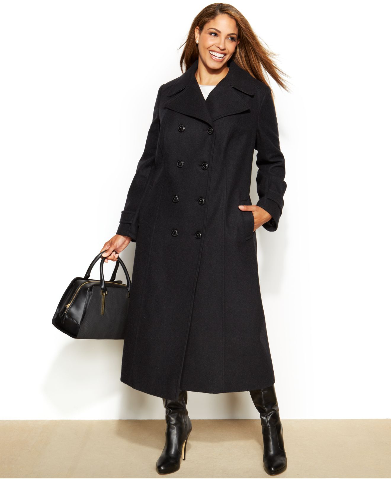 Dkny Plus Size Wool-Blend Double-Breasted Walker Coat in Gray | Lyst