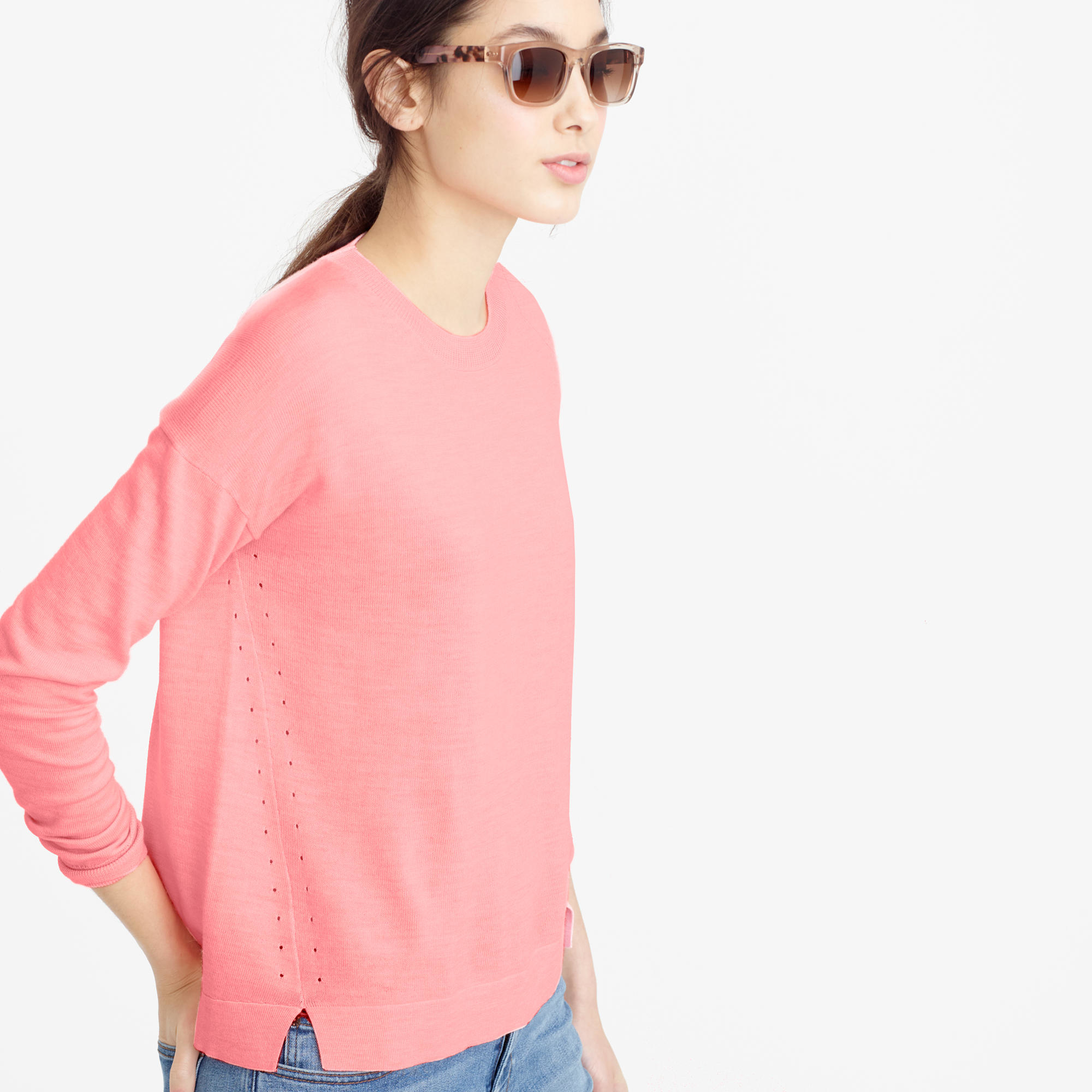 J.crew Lightweight Wool Tunic Sweater in Pink | Lyst