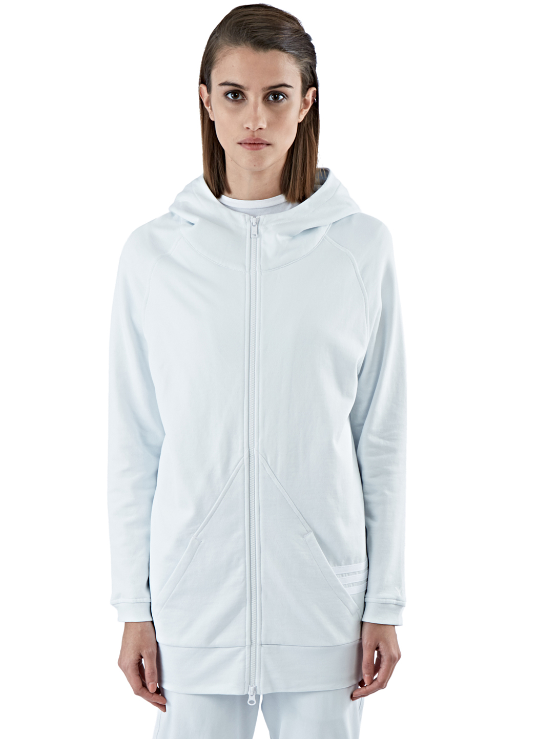Y-3 Women's Long Zip-up Hooded Sweater In White in White | Lyst
