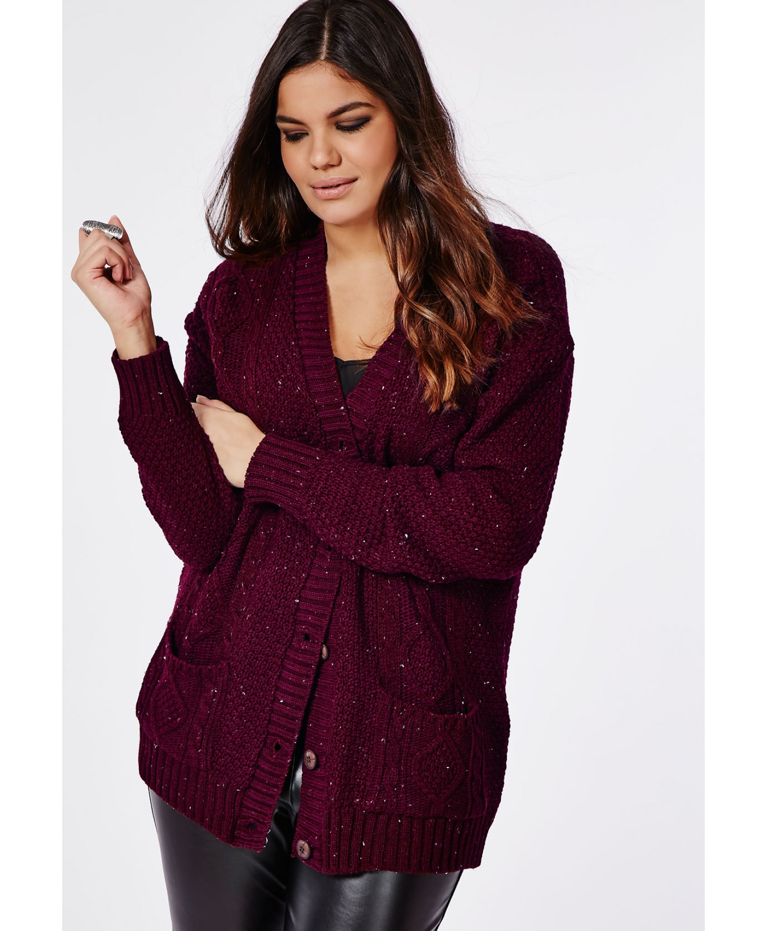 Missguided Plus Size Longline Chunky Knit Cardigan Oxblood in Red ...