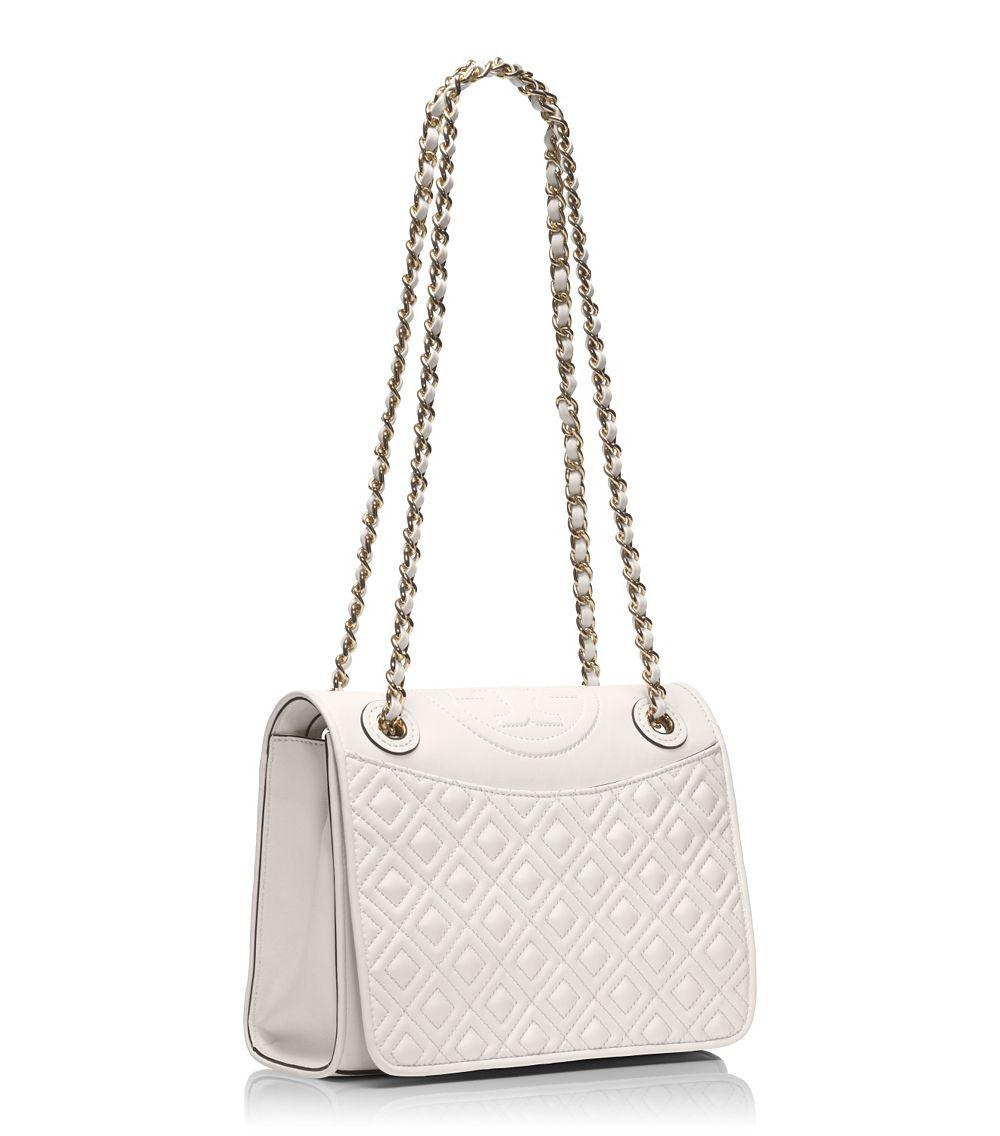 213cdfe49493 Tory Burch Shoulder Bag - Fleming Patent Medium in White - Lyst