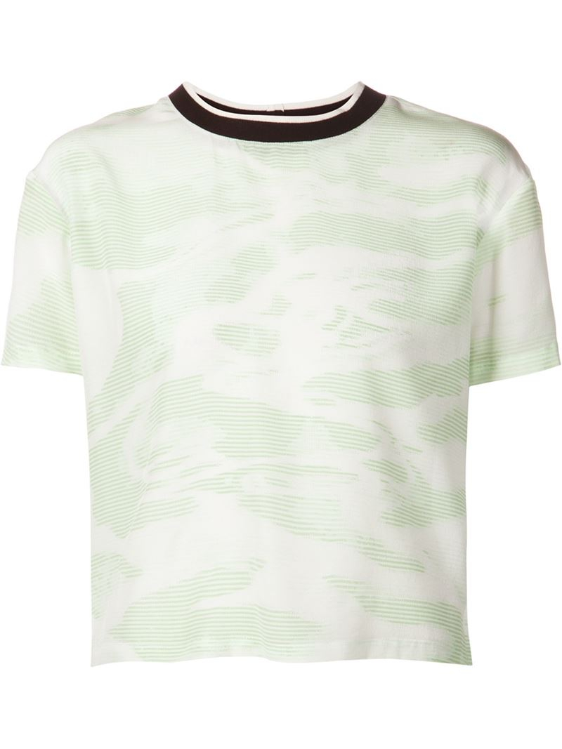 Opening ceremony silk t shirt in white lyst for Silk white t shirt