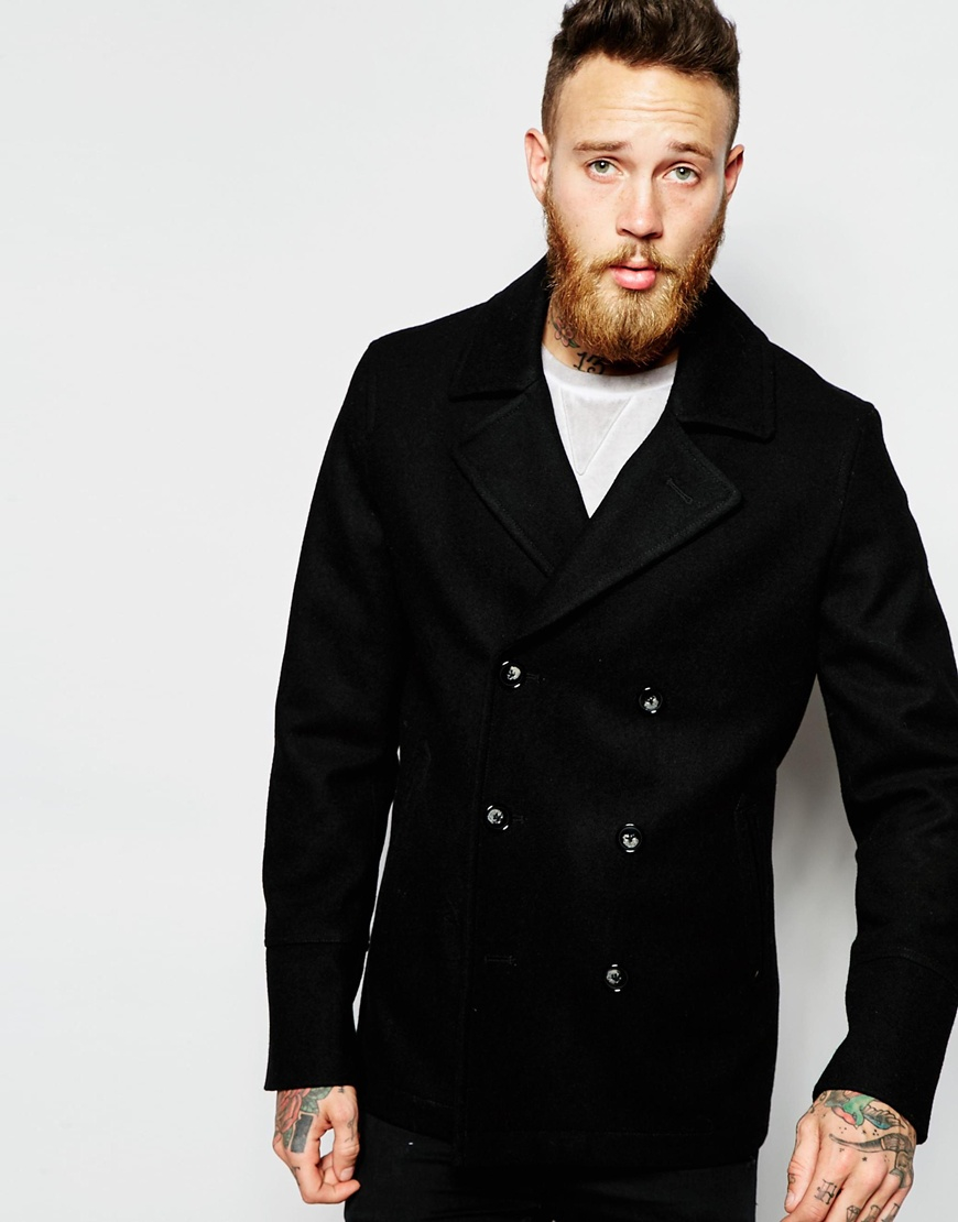 Asos Wool Peacoat In Black in Black for Men | Lyst