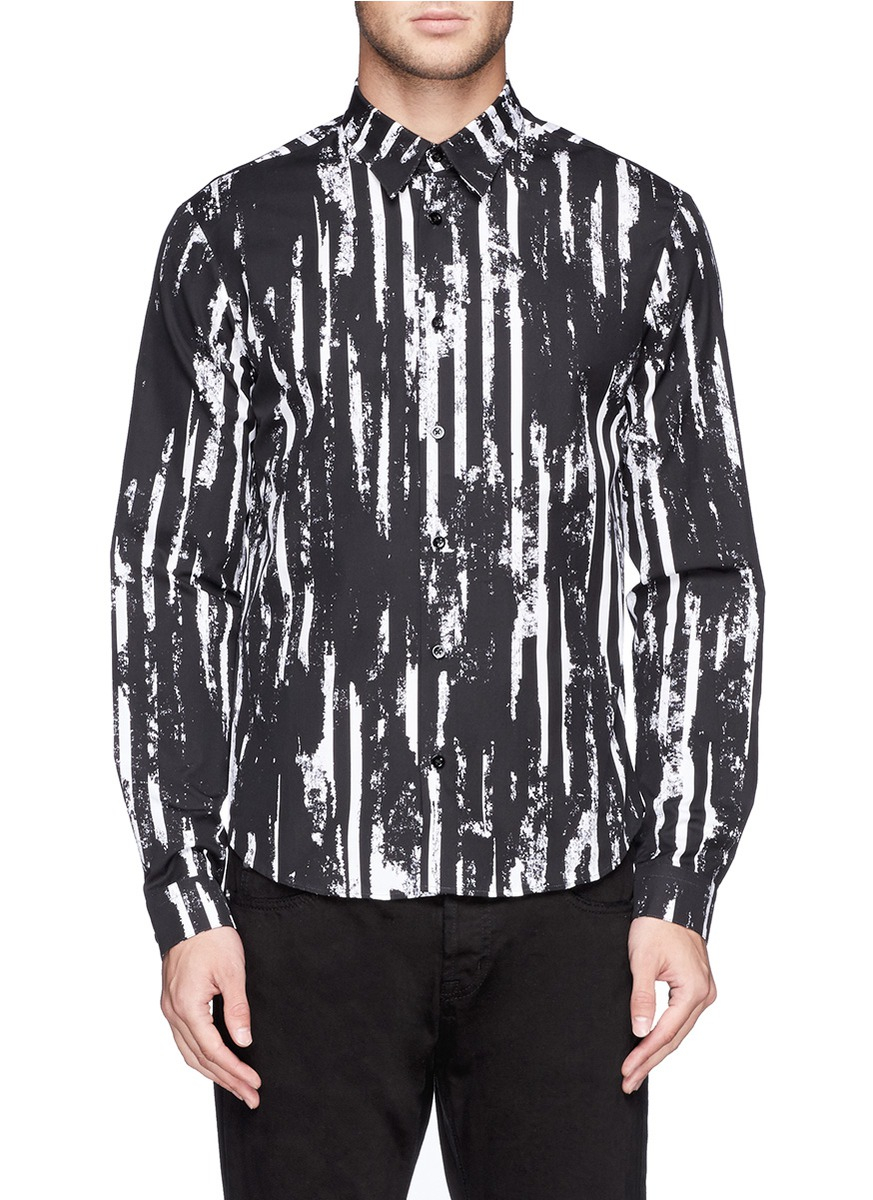 Mcq scratch paint stripes print poplin shirt in black for for Making a shirt from scratch