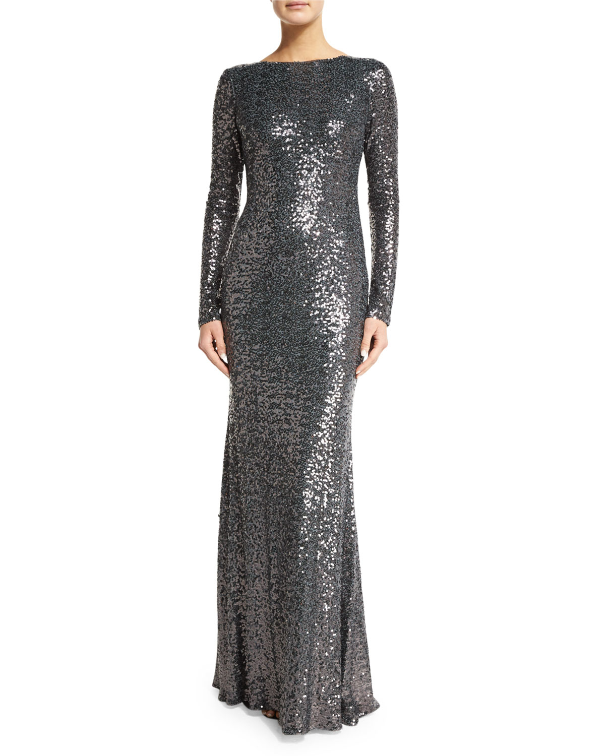 Lyst Badgley Mischka Long Sleeve Cowl Back Sequined